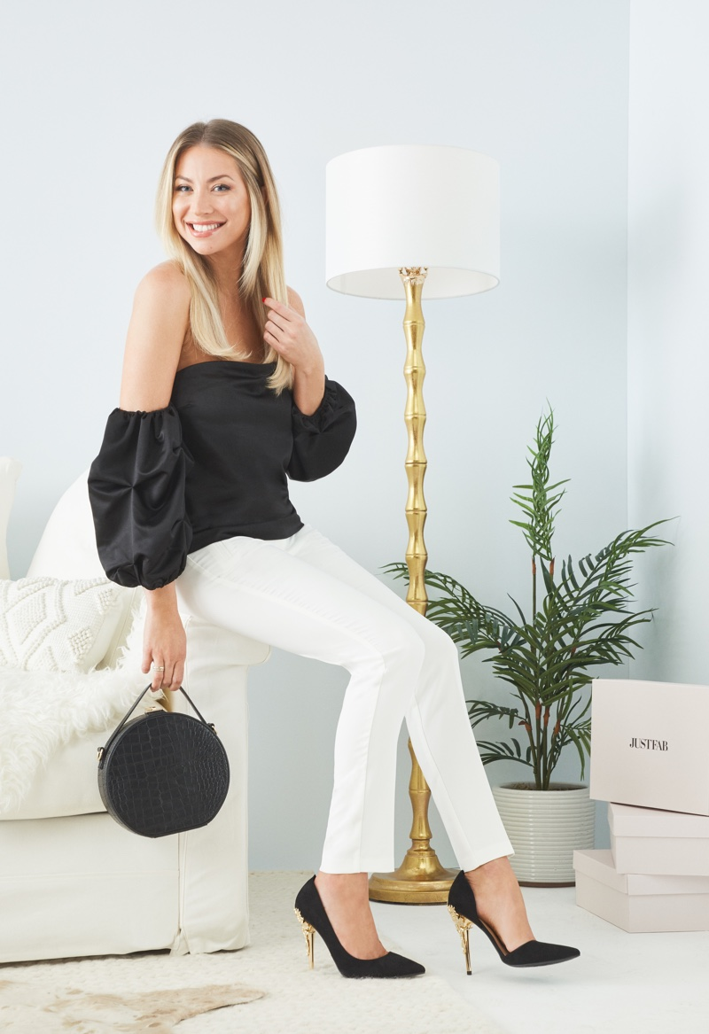 Stassi Schroeder wears off-the-shoulder top and skinny pants from JustFab collaboration