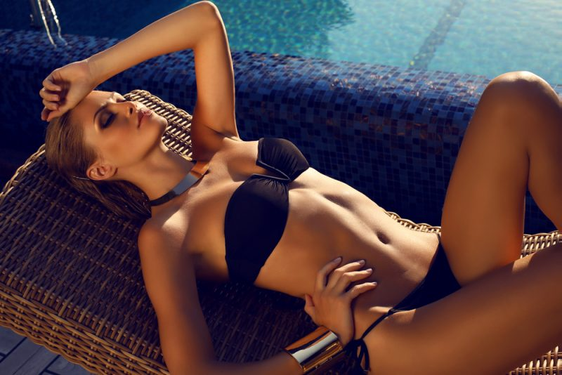 Tanned Model Poolside Bathing Suit