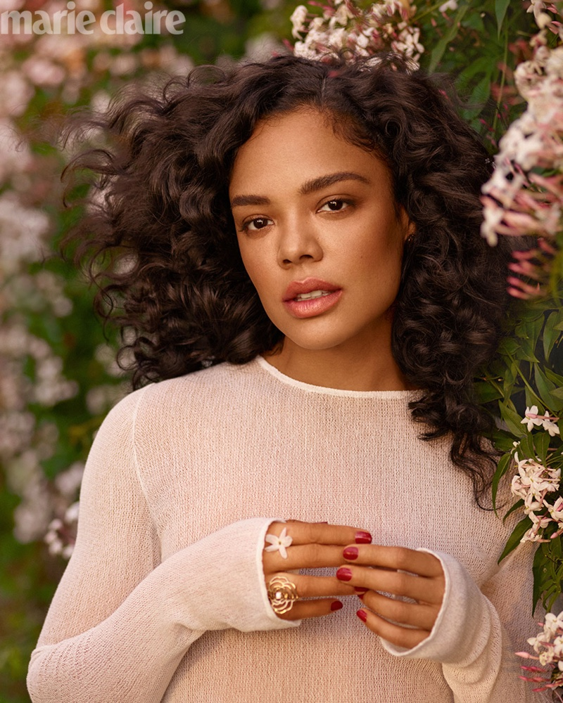 Actress Tessa Thompson wears Chanel dress with Chanel Fine Jewelry