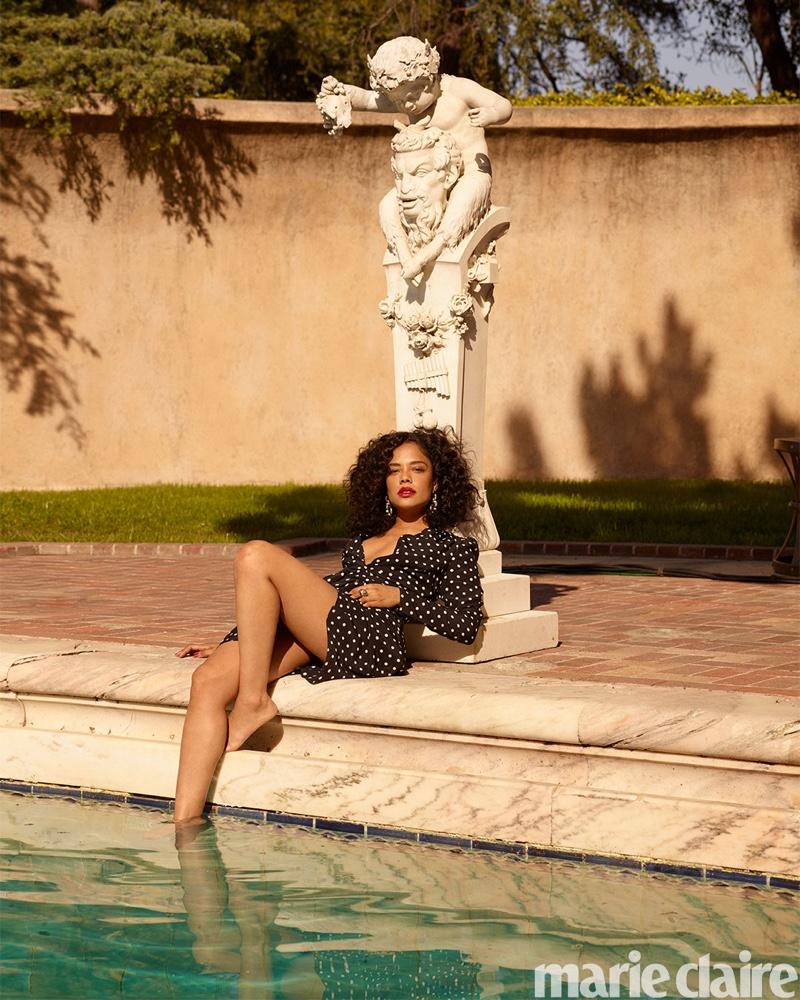 Posing poolside, Tessa Thompson wears Alessandra Rich dress