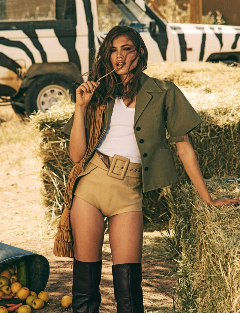 Valentina Sampaio Looks Safari Chic for Woman Spain