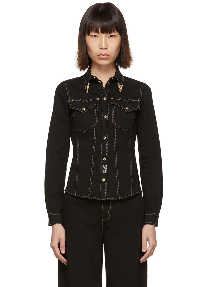 Versace Jeans Couture Black Denim Fitted Shirt $425