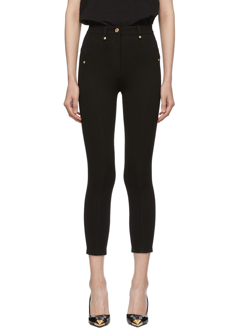 Versace Jeans Couture Black Knit High-Waisted Trousers $325