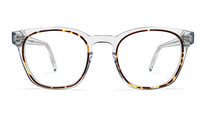 Warby Parker Felix Glasses in Crystal and Maple $145