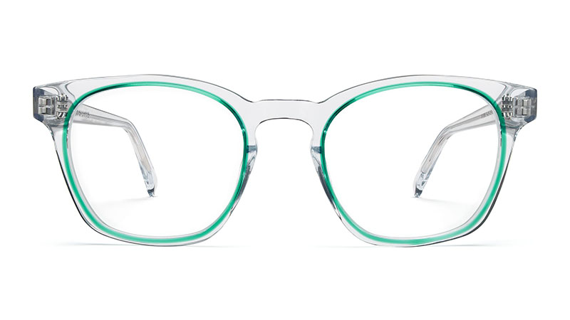 Warby Parker Felix Glasses in Crystal with Seagrass $145