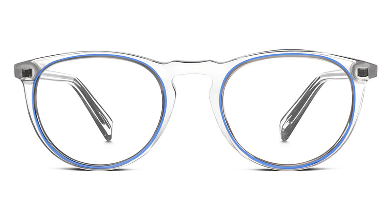 Warby Parker Haskell Glasses in Crystal and Blue Jay $145