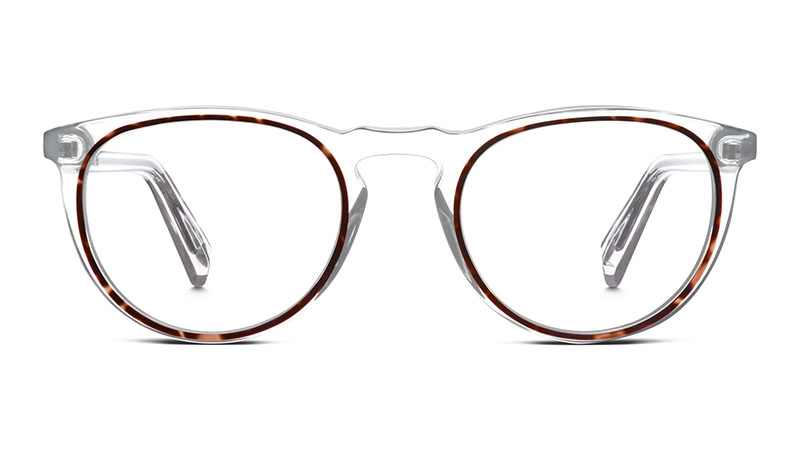 Warby Parker Haskell Glasses in Crystal and Maple $145