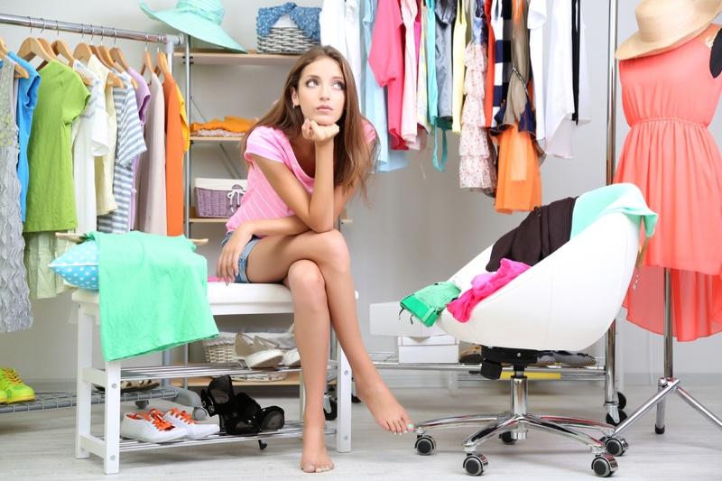 Woman Closet Thinking Wear