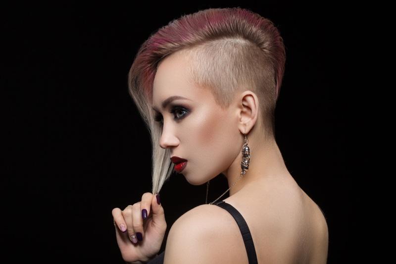 Woman Shaved Haircut Punk Beauty
