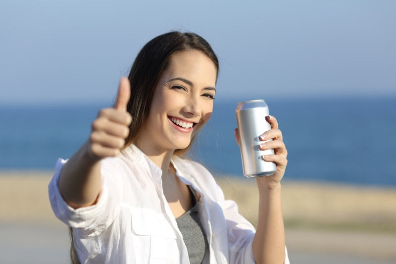 Woman Smiling Beer Can
