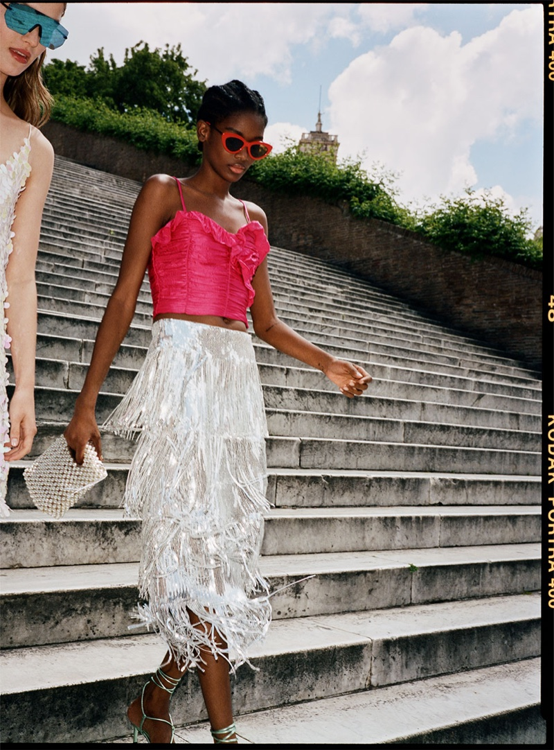 Zara Ruffled Top, Limited Edition Fringed Sequin Skirt and Metallic Leather Heels