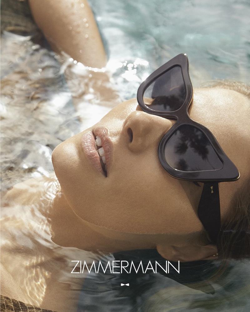 Wearing a cat eye style, Jessica Hart appears in Zimmermann eyewear campaign