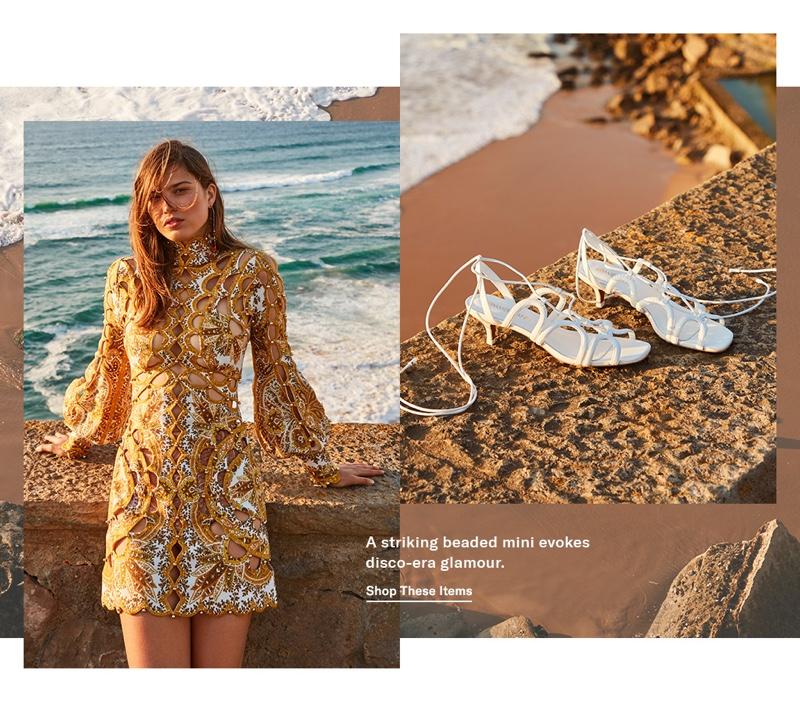 Zimmermann Zippy Scallop Mini Dress $3,150 and Scallop Kitten Heel Sandals $495