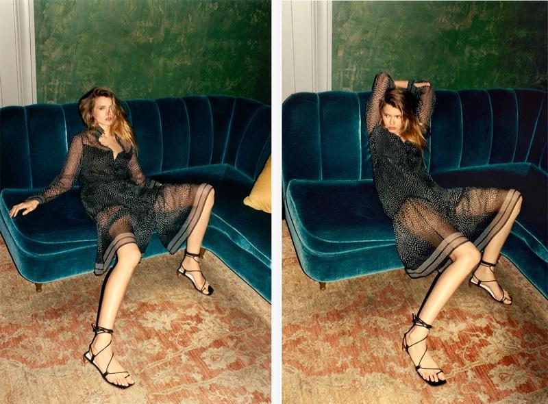 Model Abbey Lee Kershaw poses in Rag & Bone Libby dress