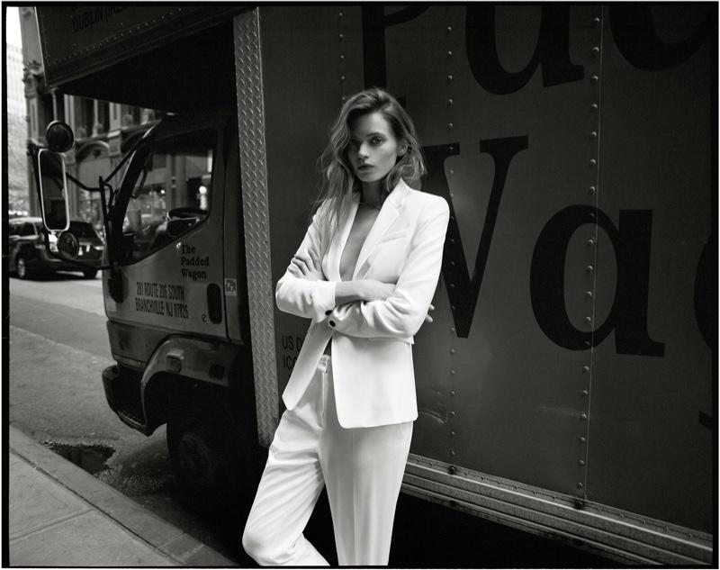 Suiting up, Abbey Lee Kershaw models Rag & Bone Windsor blazer and pant