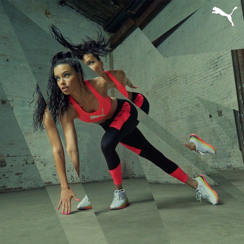Adriana Lima shows off her physique for PUMA LQD Cell Shatter campaign
