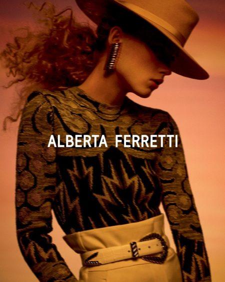 Rianne van Rompaey stars in Alberta Ferretti fall-winter 2019 campaign