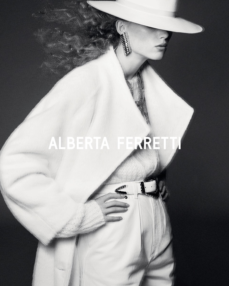 Model Rianne van Rompaey fronts Alberta Ferretti fall-winter 2019 campaign