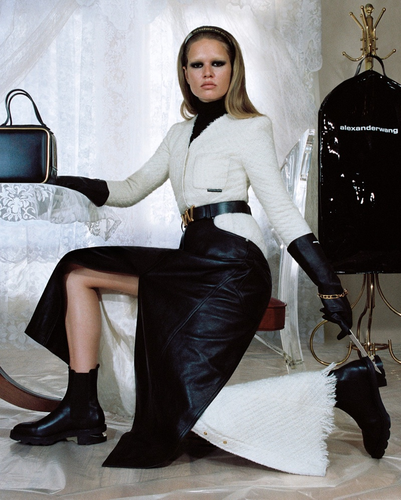Model Anna Ewers strikes a pose in Alexander Wang Collection 2 2019 campaign
