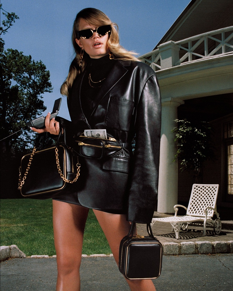 Wearing leather, Anna Ewers fronts Alexander Wang Collection 2 2019 campaign