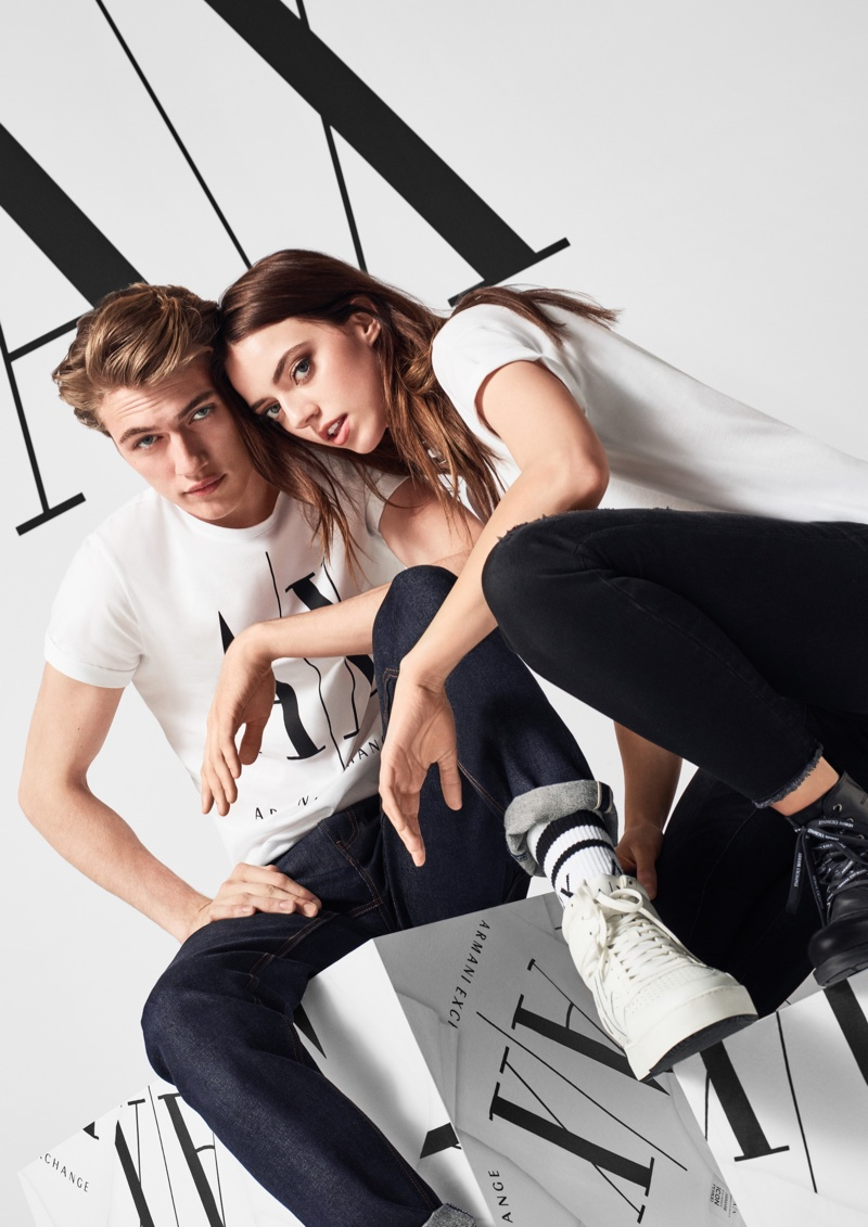Siblings Lucky Blue and Pyper America Smith appear in Armani Exchange fall-winter 2019 campaign