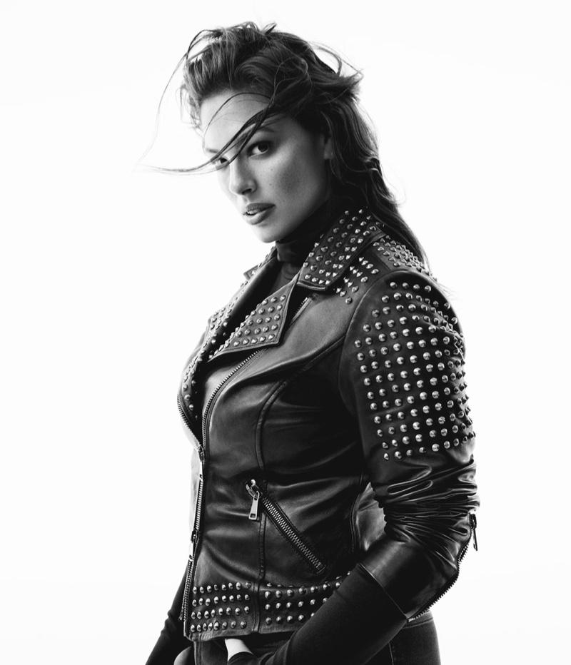 Ashley Graham wears leather jacket from Marina Rinaldi fall 2019 denim collaboration