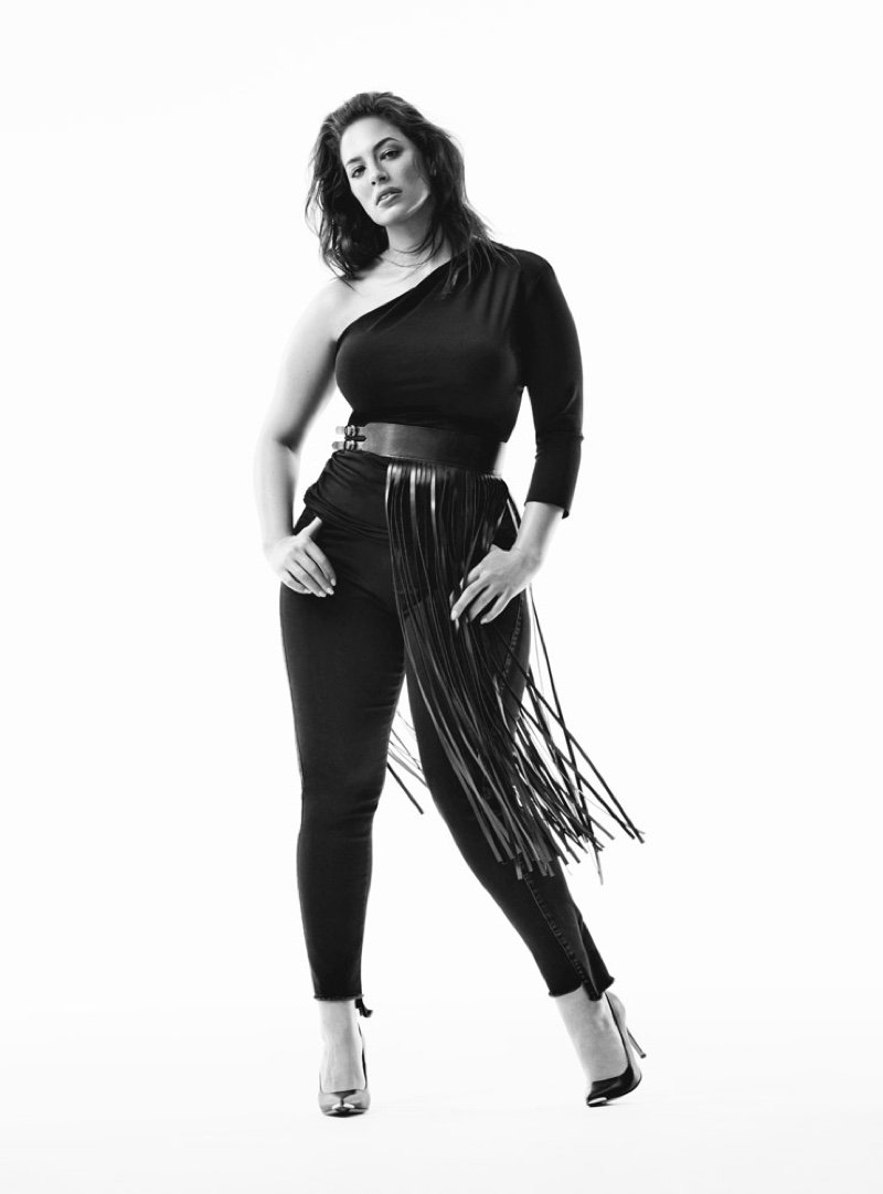 Ashley Graham sports fringe for Marina Rinaldi denim fall-winter 2019 campaign