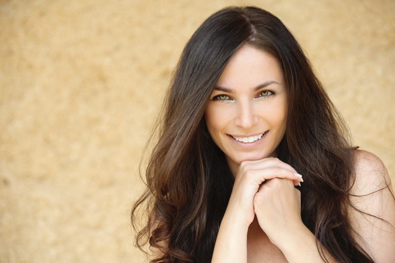 Attractive Older Brunette Woman Smiling Hair Beauty