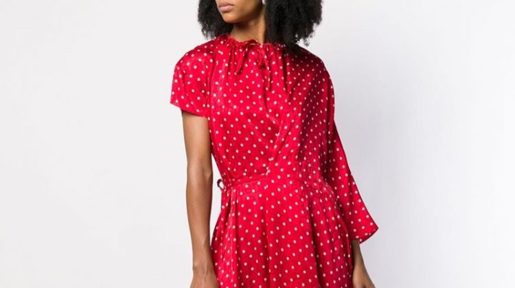 Balenciaga Side Pull Polka Dot Dress $2,590
