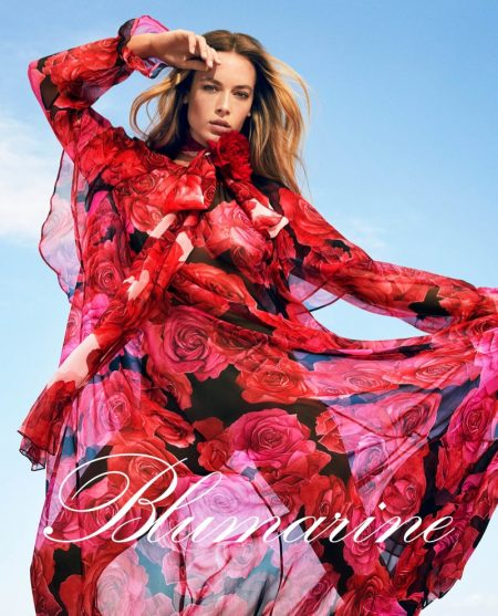 Hannah Ferguson wears floral print for Blumarine fall-winter 2019 campaign