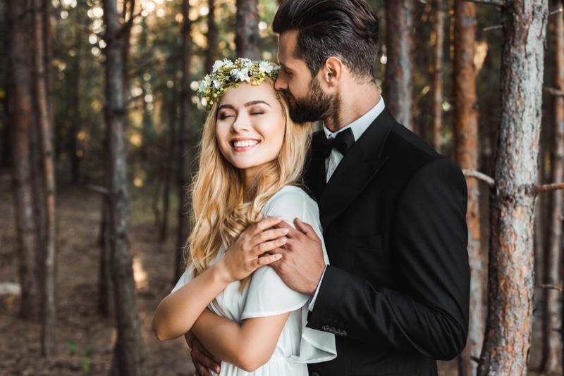 Bride Groom Smiling Flower Crown Woods Wedding