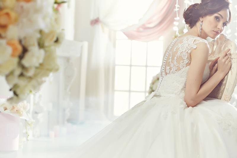 Brunette Model Bridal Wedding Dress Chair Back