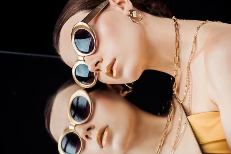 Brunette Model Gold Sunglasses Jewelry Mirror Fashion