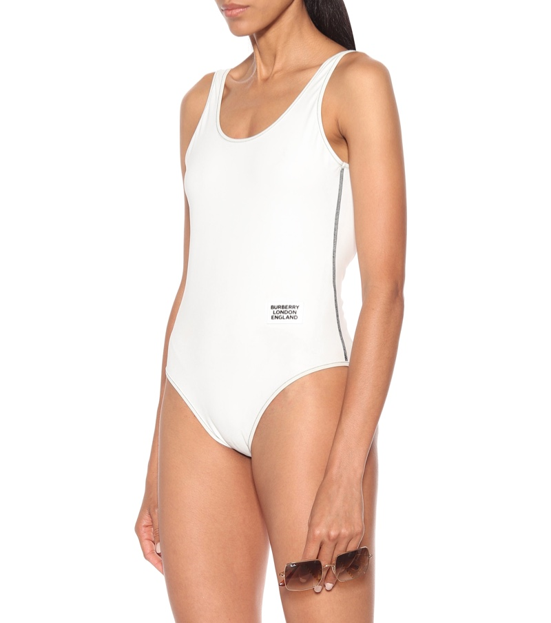Burberry Cleddau Swimsuit in White $380