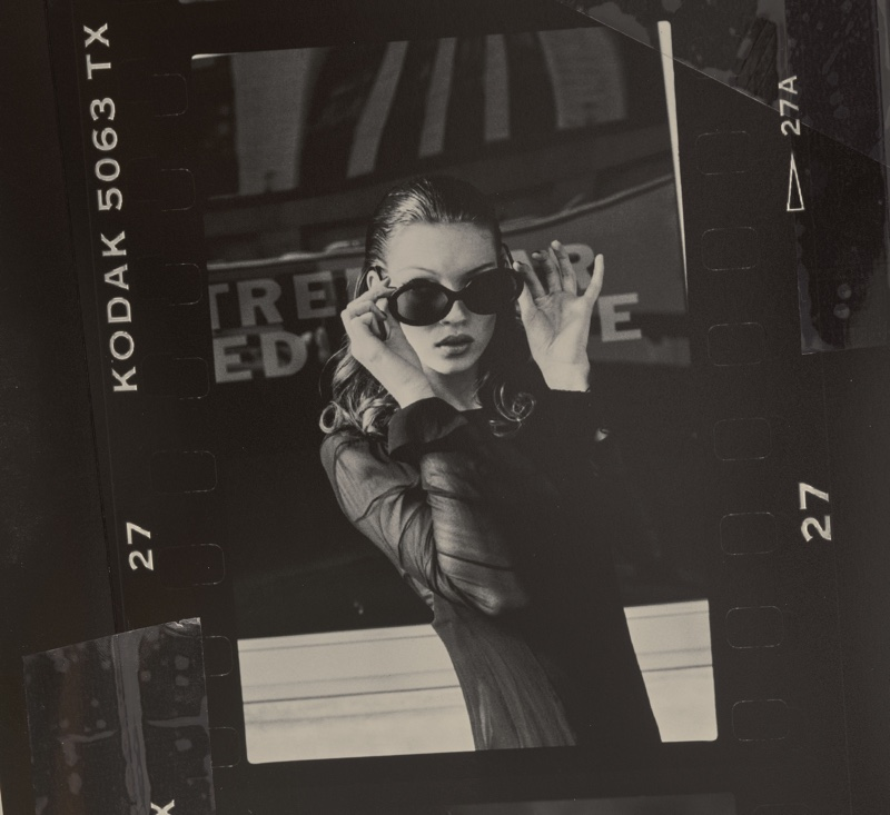 Kate Moss tries on Christian Roth Series 4001 sunglasses in 1992. Photo: Stephanie Pfriender Stylander