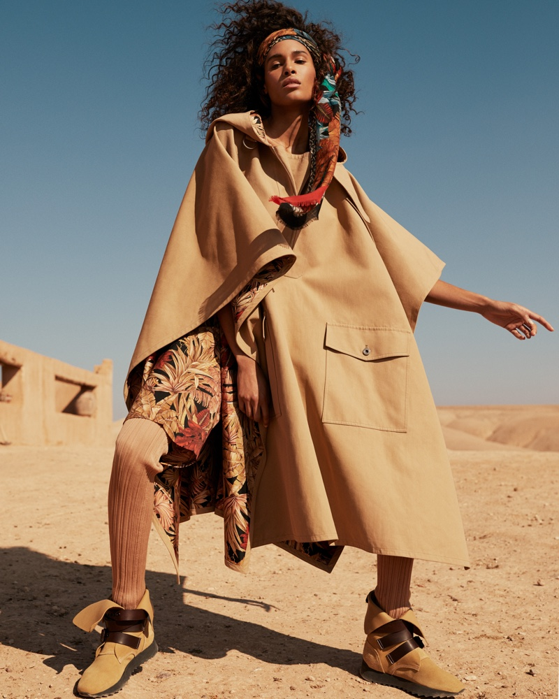 Cindy Bruna Embraces Desert Style for Vogue Arabia