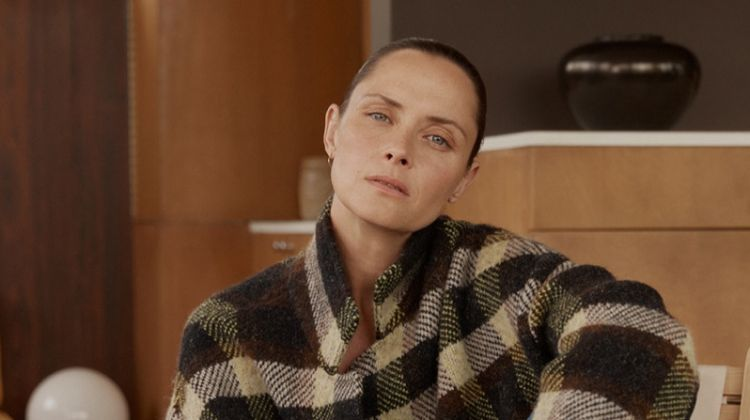 Model Tasha Tilberg wears a plaid jacket for Closed fall-winter 2019 campaign