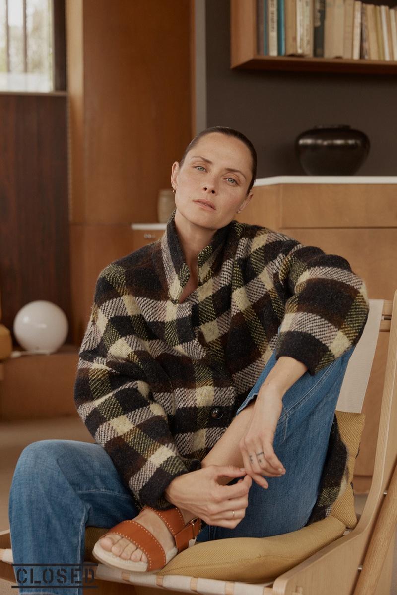 Model Tasha Tilberg wears a plaid jacket for Closed fall-winter 2019 campaign