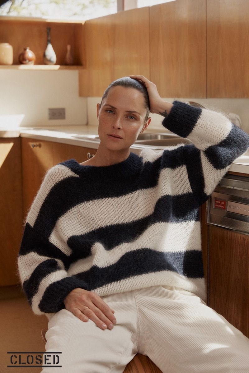Tasha Tilberg wears stripes for Closed fall-winter 2019 campaign