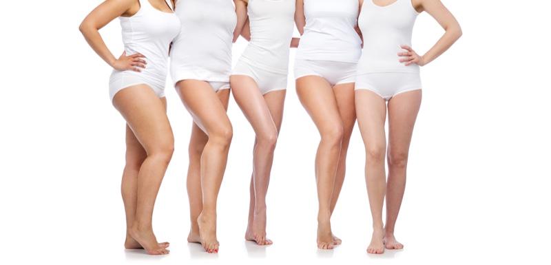 Diverse Models White Shirts Legs Body Positive