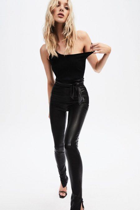 Elsa Hosk wears J Brand Elsa Friday Legging in black leather