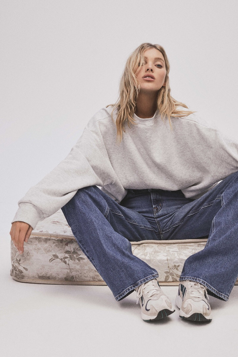 Model Elsa Hosk poses in relaxed fit jeans from J Brand collaboration