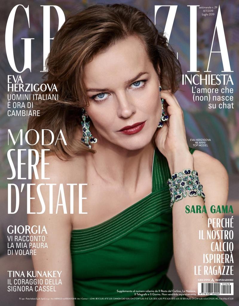 Eva Herzigova Sparkles in Chopard Jewelry for Grazia Italy