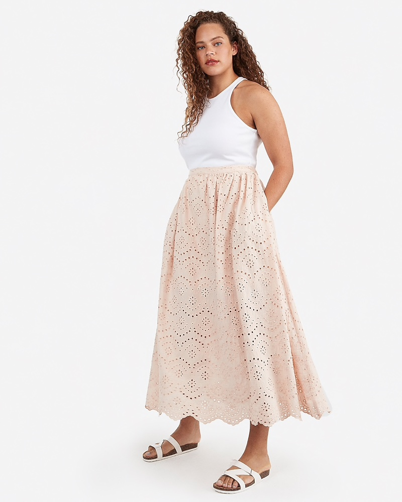 Express x Karla High Waisted Eyelet Lace Maxi Skirt in Light Mink Pink $98