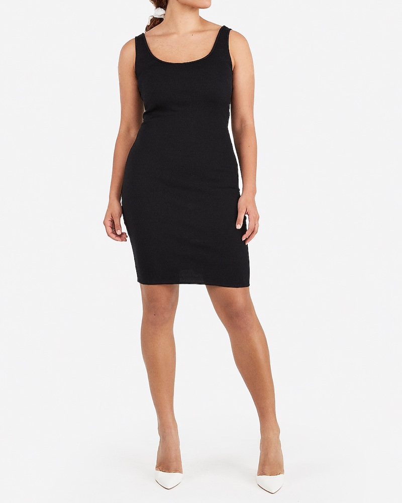 Express x Karla Scoop Neck Midi Tank Dress in Pitch Black $59.90