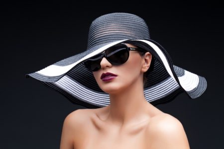 Fashion Model Black Sun Hat Sunglasses Dark Lipstick