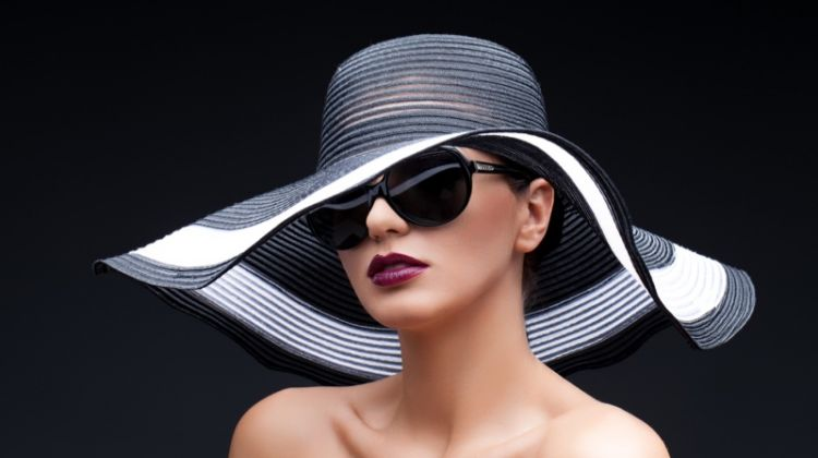 Fashion Model Black Sun Hat Sunglasses Dark Lipstick
