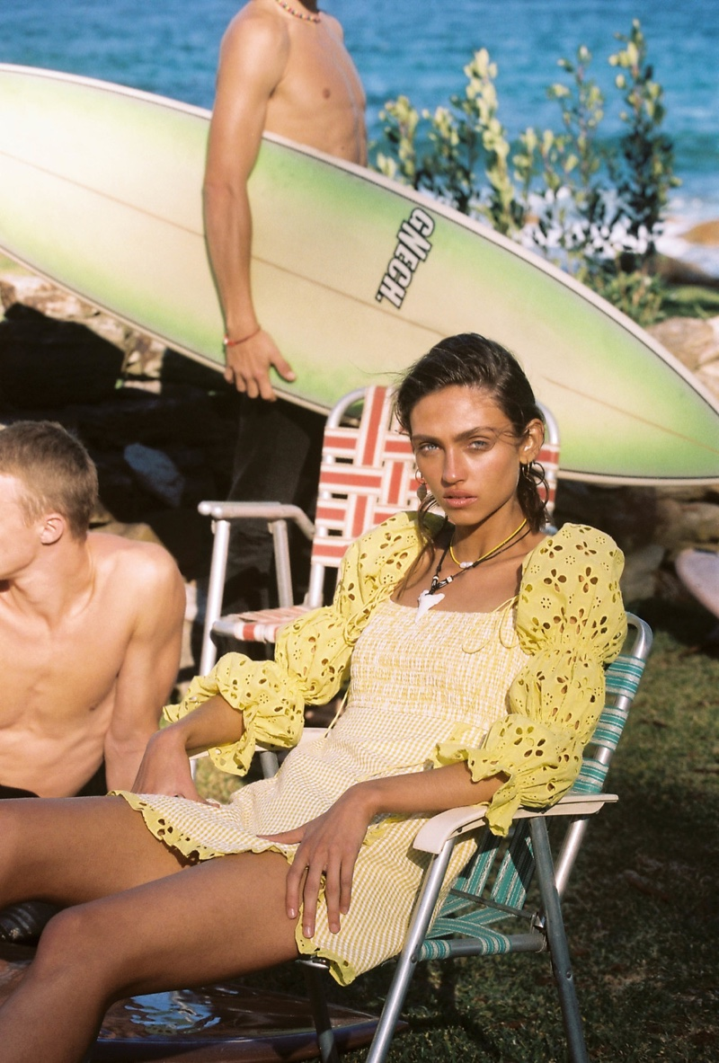 For Love & Lemons Catamaran smocked dress featured in High Summer 2019 campaign