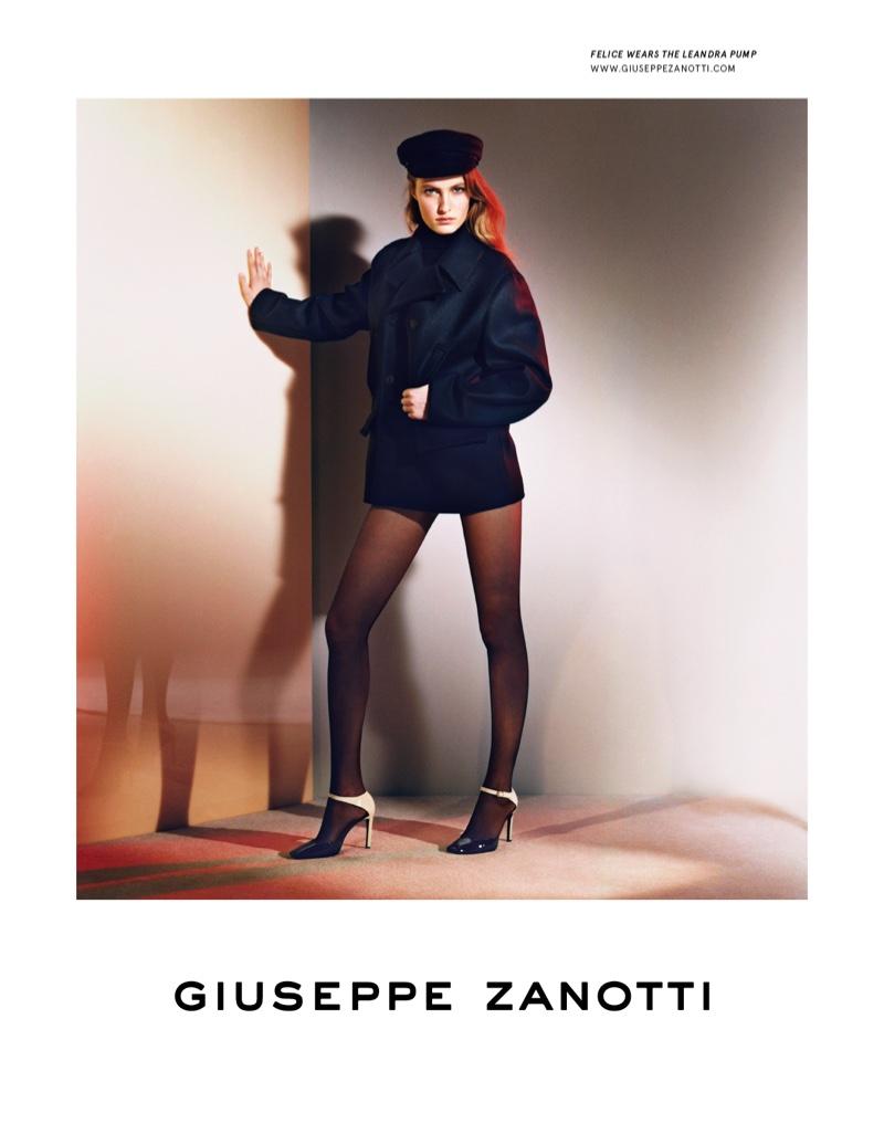 Model Felice Noordhoff wears Giuseppe Zanotti pump
