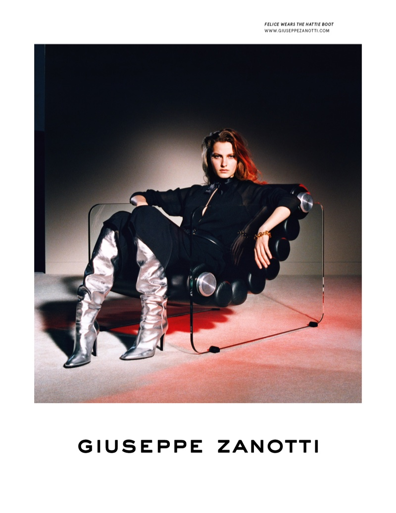Felice Noordhoff fronts Giuseppe Zanotti fall-winter 2019 campaign